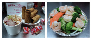 Combination; Egg Rolls; Fried Rice; Fortune Cookies; Shrimp and Broccoli